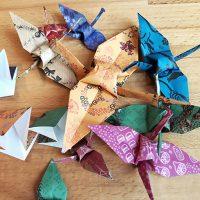 kraniche falten, origami, deko, kurs